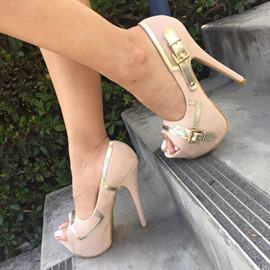 Chic Buckle Decoration Peep-Toe Heels Prom Shoes