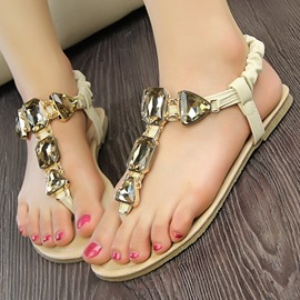 Ericdress Fashion Bohemian Rhinestone Decoration Flat Sandals