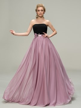Strapless Floor Length A-Line Bridesmaid Dress