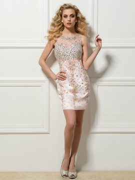 Round Neck Sheath Beadings Crystal Button Short Cocktail Dress
