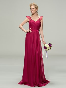 Charming Ruched Sweetheart A-Line Chiffon Long Bridesmaid Dress