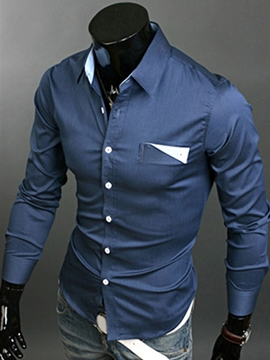 Ericdress Dark Blue Lapel Single-Breasted Long Sleeve Shirt