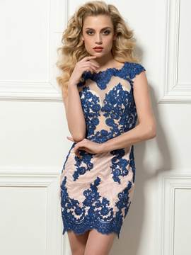 Glamorous Cap Sleeves Appliques Short Sheath Cocktail Dress