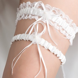Ruffles Lace Ivory Wedding Garters