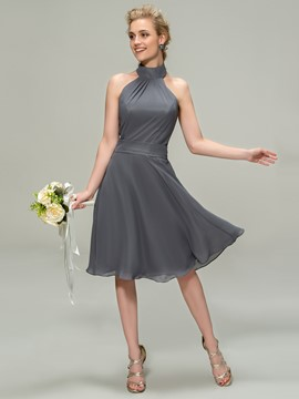 Beautiful High Neck Knee Length Zipper Up Bridesmaid Dress