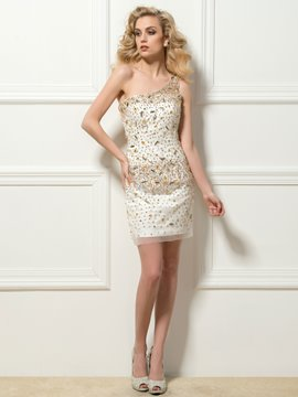 Terrific One-Shoulder Sheath Beadings Crystal Short Cocktail Dress
