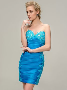 Amazing Sweetheart Pleats Appliques Short Cocktail Dress