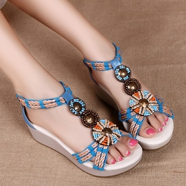 Sweet Beads Decoration Flat Sandals