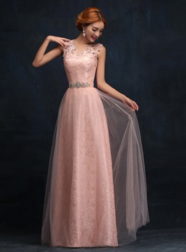 Ericdress Brilliant Rhinestone Lace Long Evening Dress