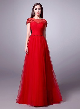 Ericdress Beaded A-Line Long Evening Dress With Sleeves