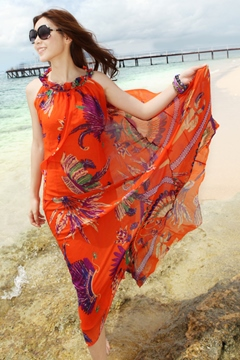 Ericdress Bohemian Orange Feather Beach Dress