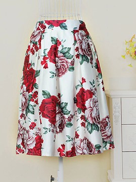 Ericdress Floral Print Pleated Knee-Length Skirt