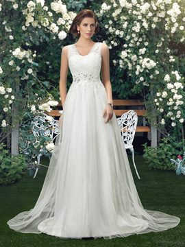 Lace Straps V-Neck A-Line Zipper-Up Wedding Dress