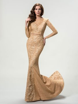 Sexy Long Sleeve Mermaid Lace Floor-Length Evening Dress