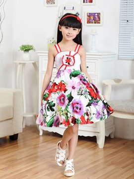 Ericdress Strappy Floral Print Girl's Dress