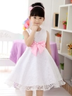 Ericdress White Bowknot Decorated Girl's Lace Dress