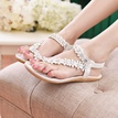 Sweet Flower Decorated Ankle Strap Flat Sandals