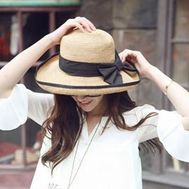 Ericdress Classic Black Bowknot Embellished Straw Sunhat
