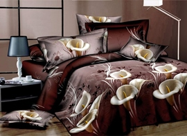 Ericdress Calla Lily Print 4-Piece 3D Bedding Sets