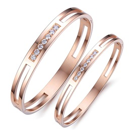 Shining Crystal 316L Titanium Steel Lovers' Neckalces(Price For A Pair)