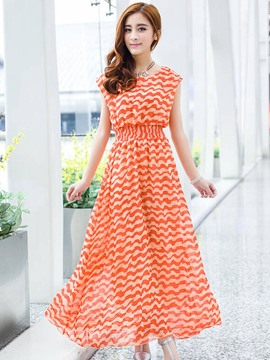 Ericdress Orange/Black Bohemian Strip Chiffon Maxi Dress