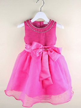 Ericdress Rose Round-Neck Sleeveless Pleater Girl's Dress
