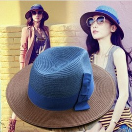 Ericdress Chic Belt-Decorated Color Block Sunhat