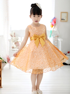 Ericdress Golden Floral Print Bowknot Decorated Girl's Lace Dress