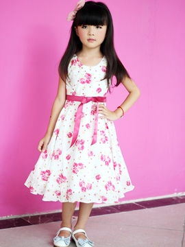 Ericdress White Floral Print Bowknot Decorated Girl's Dress