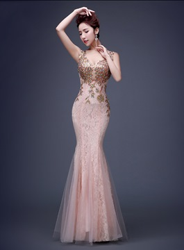 Ericdress Luxurious Deep-V Neck Lace Long Mermaid Evening Dress