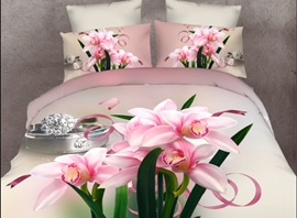 Ericdress Pink Flower Print 4-Piece 3D Bedding Sets
