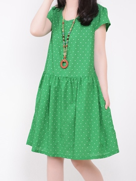Ericdress Casual Short Sleeve Dotted Dress