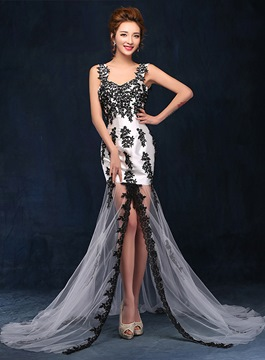 Ericdress Glamorous Straps Appliques Backless Sheath Evening Dress