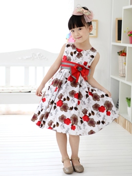 Ericdress Red Floral Print Bowknot Decorated Girl's Dress