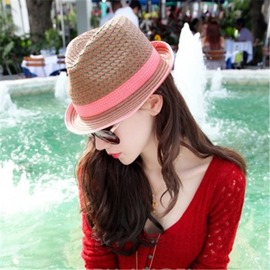 Ericdress Stylish Color Block Straw Sunhat