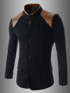 Patchwork Stand Collar Long Sleeve Jacket