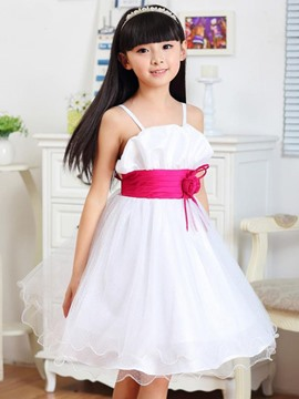 Ericdress Bow Pleated Spaghetti Strap Girl's Dress