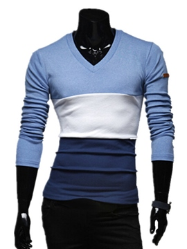 Ericdress Color Block Long Sleeve Man T-Shirt