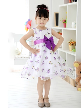 Ericdress Purple Floral Print Bowknot Decorated Girl's Dress