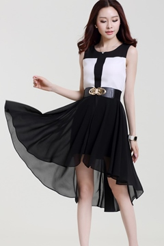 Ericdress Sleeveless Patchwork Chiffon Dress