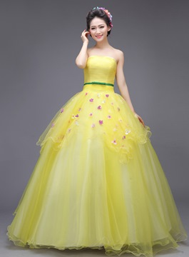 Ericdress Admirable Strapless Appliques Floor-Length Ball Gown Dress