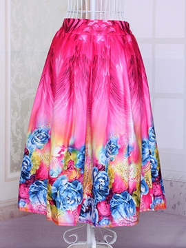Ericdress Printed Pleated Skirt