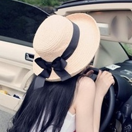 Ericdress Chic Black Ribbon Embellished Sunhat