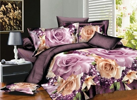 Ericdress Perfume Rose Print 4-Piece 3D Bedding Sets