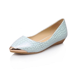 Pretty Metallic Solid Color Pointed-toe Flats