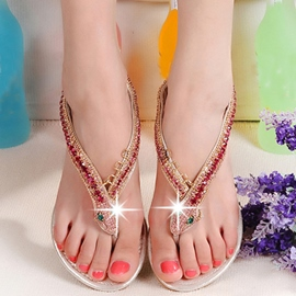 Ericdress PU Upper Thong Flat Sandals