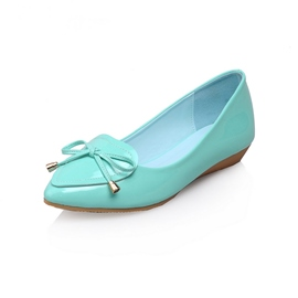 Sweet Bowknot Solid Color Pointed-toe Flats