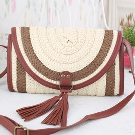 Ericdress Color Block Tassel Decorated Knitted Shoulder Bag