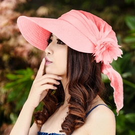 Ericdress Flower Decorated Pure Color Sunhat