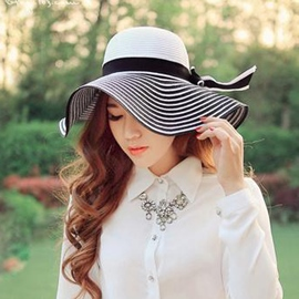 Ericdress Classic Bowknot Embellished Stripe Sunhat